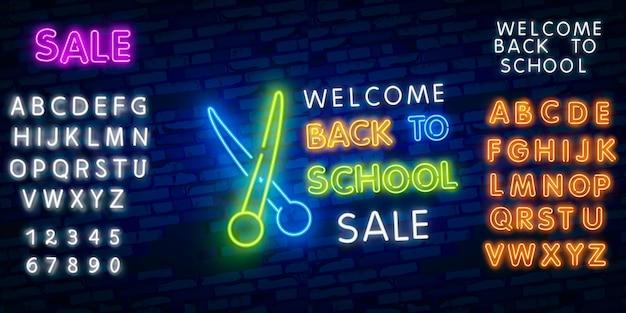 Witaj z powrotem w szkole. typografia czcionki alfabetu efekt stylu neonowego Premium Wektorów