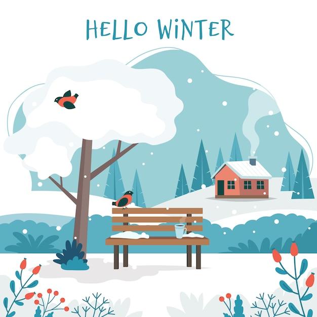 Witaj Zimo, Krajobraz Z Uroczą ławką Premium Wektorów