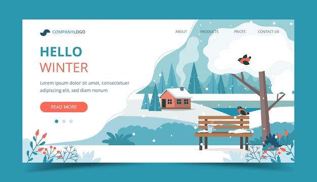 Witaj Zimo, Krajobraz Ze śliczną ławką W Parku Premium Wektorów