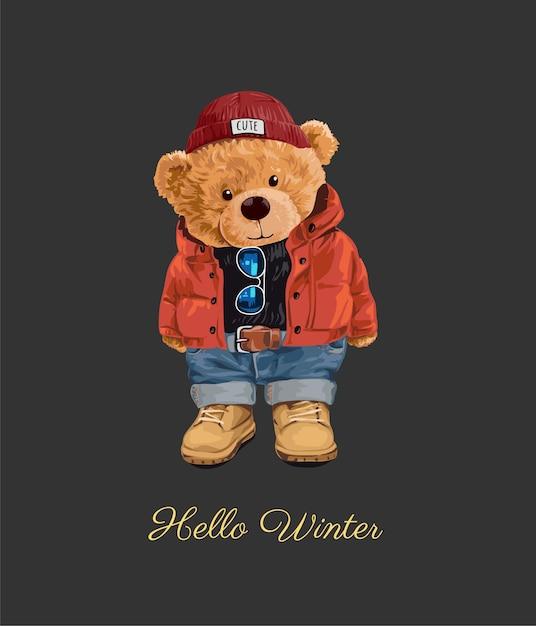 Witaj Zimowy Slogan Z Zabawką Niedźwiedzia W Zimowym Stylu Ilustracji Premium Wektorów