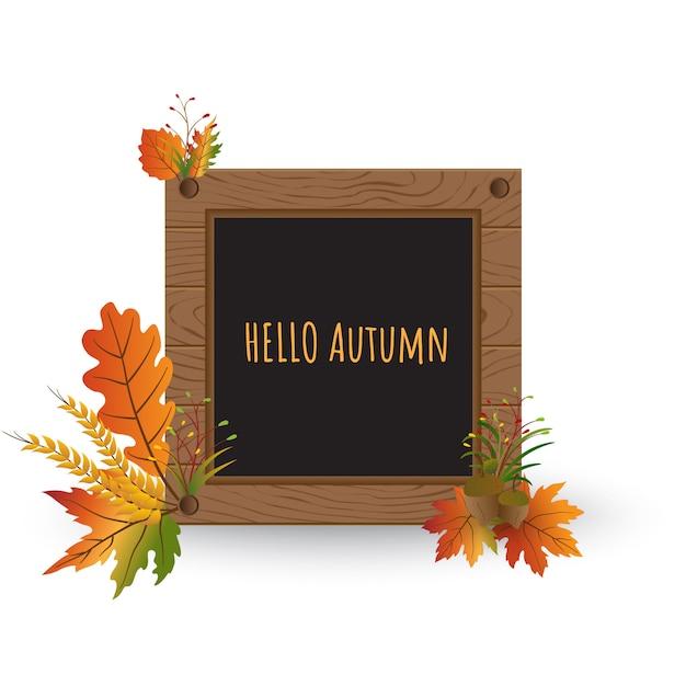 Witam jesień tło drewno teksturowanej ramki Premium Wektorów