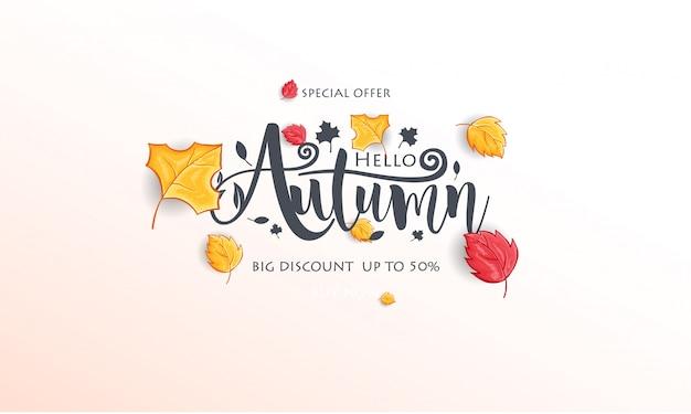 Witam Jesień Tło Z Realistycznymi Liśćmi Premium Wektorów