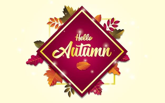 Witam Jesień Wzór Tła Z Liści. Modny Skład Ze Złotą Listą. Premium Wektorów