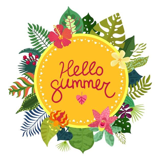 Witam Lato Ilustracji Z Pięknymi Tropikalnymi Roślinami I Kwiatami Darmowych Wektorów