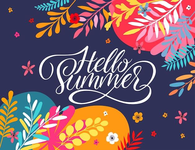 Witam Lato Kartkę Z życzeniami Z Jasnymi Kwiatami I Liśćmi. Premium Wektorów
