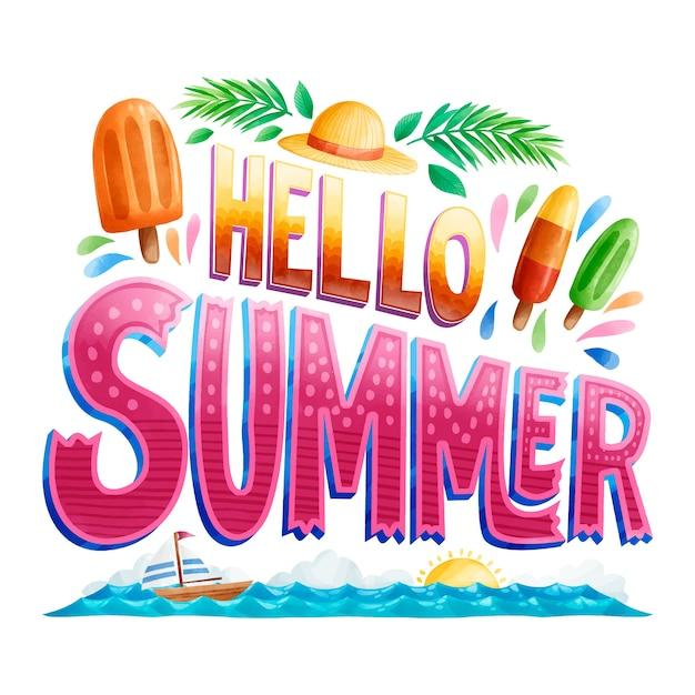 Witam Lato Napis Słoneczny Dzień Darmowych Wektorów