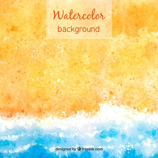 Witam lato tło z piasku i wody w stylu przypominającym akwarele Darmowych Wektorów