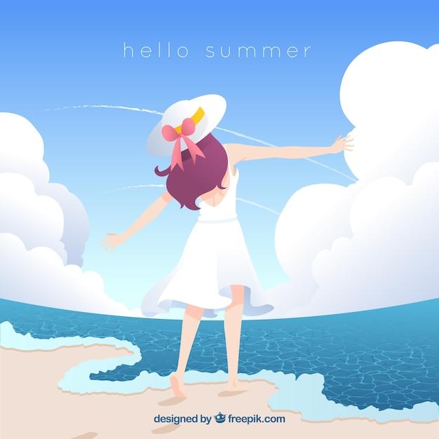 Witam Lato Tło Z Słodkie Dziewczyny Darmowych Wektorów