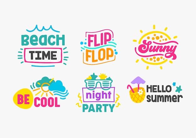 Witam Lato Wakacje Napis Zestaw Premium Wektorów