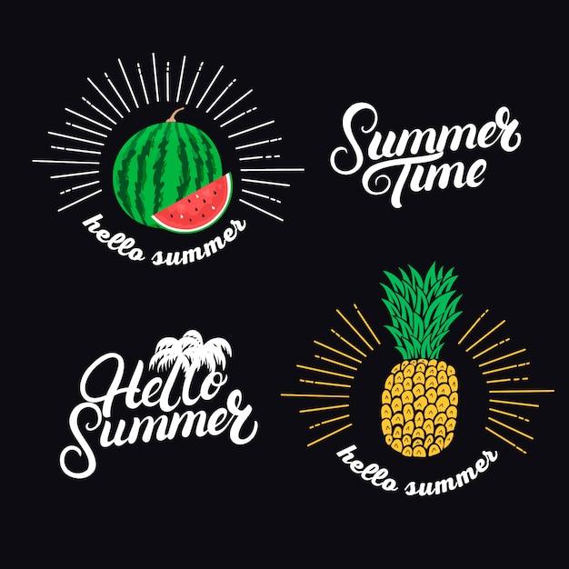 Witam Letni Zestaw. Ręcznie Napisane Cytaty I Ręcznie Rysowane Ananasa I Arbuza. Premium Wektorów