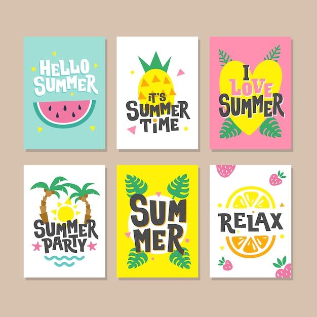Witam letnie karty. zaproszenie na przyjęcie z arbuza, liści palmowych, truskawki, ananasa, liścia monstera i słońca. Premium Wektorów