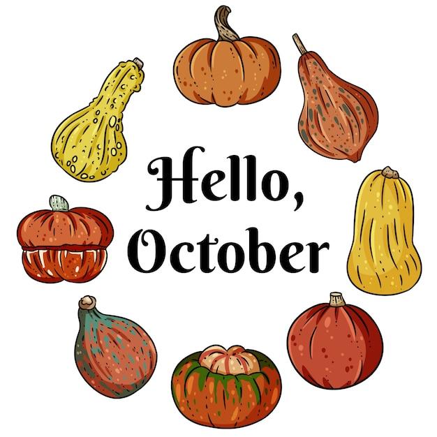 Witam października ozdobny wieniec transparent z uroczych kolorowych dyń Premium Wektorów
