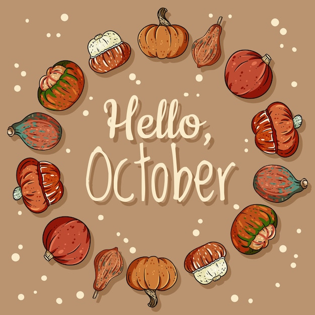 Witam październikowy dekoracyjny wieniec śliczny przytulny baner z dyniami Premium Wektorów