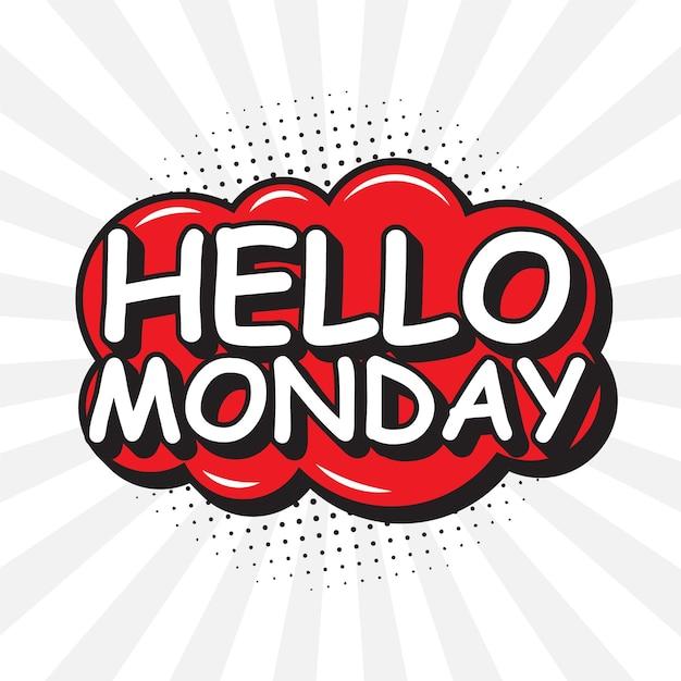 Witam W Poniedziałek W Stylu Pop-art Darmowych Wektorów