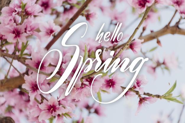 Witam Wiosenna Wyprzedaż Napis Ze Zdjęciem Darmowych Wektorów