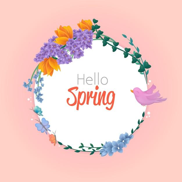 Witam Wiosenny Styl Z Pięknymi Kwiatami Darmowych Wektorów