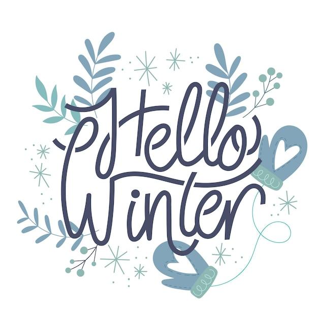 Witam Zimowy Napis Z Liśćmi Darmowych Wektorów