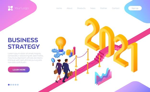 Witamy 2021. Biznesmen I Bizneswoman Idą Na Czerwonym Dywanie Do Nowego Roku 2021. Premium Wektorów