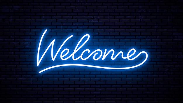 Witamy - gotowy szablon napisu na szyld neon. Premium Wektorów
