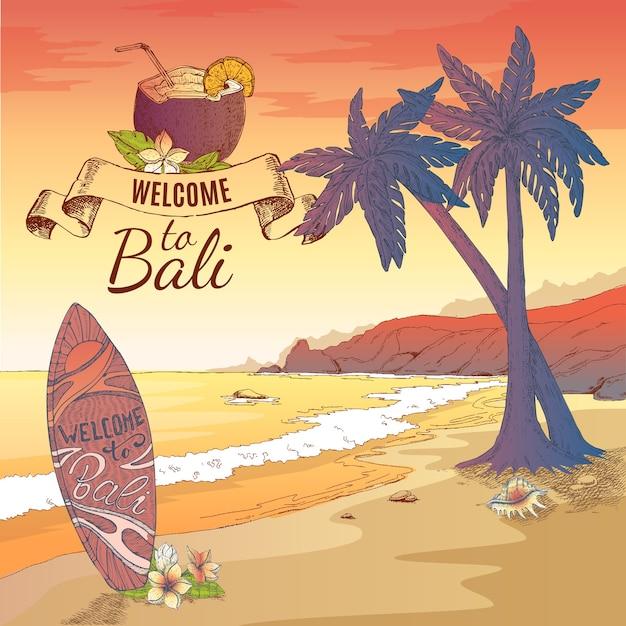 Witamy Na Ilustracji Bali Darmowych Wektorów