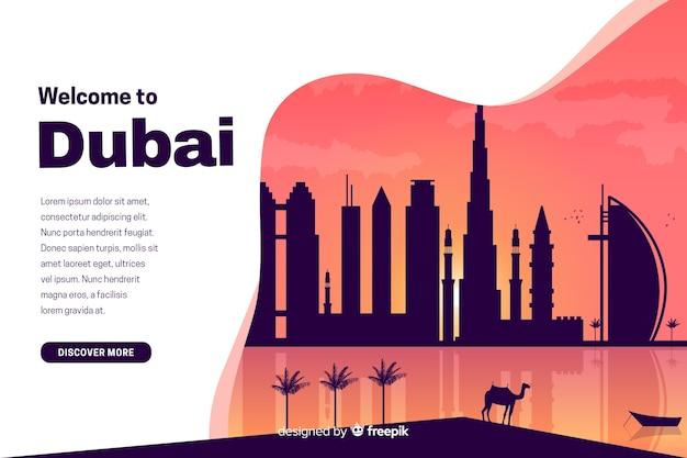 Witamy Na Stronie Docelowej Dubaju Z Ilustracjami Darmowych Wektorów