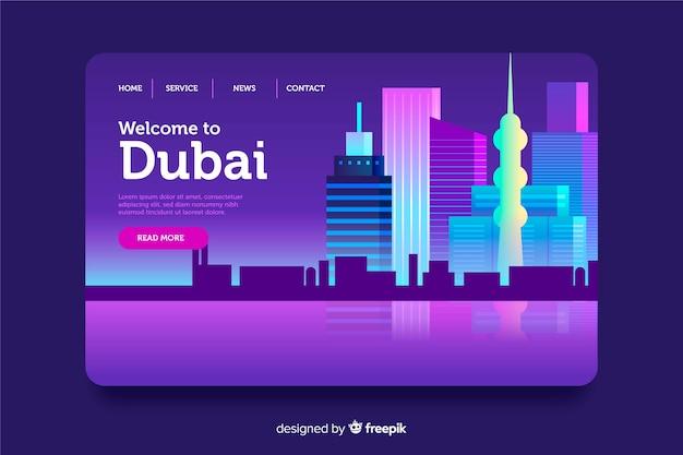 Witamy Na Stronie Docelowej Dubaju Darmowych Wektorów