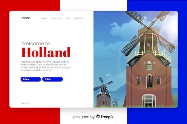 Witamy Na Stronie Docelowej Holandii Darmowych Wektorów