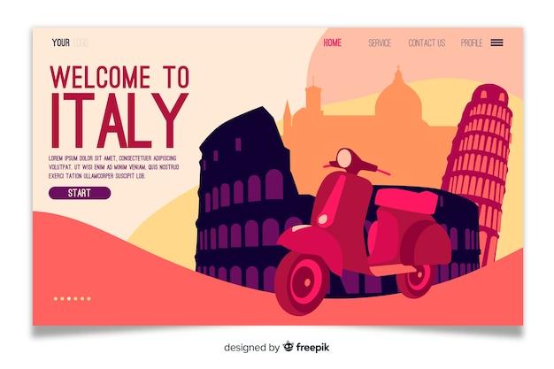 Witamy Na Stronie Docelowej Włoch Premium Wektorów