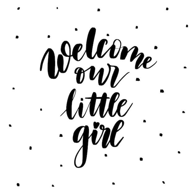 Witamy Naszą Małą Dziewczynkę Premium Wektorów