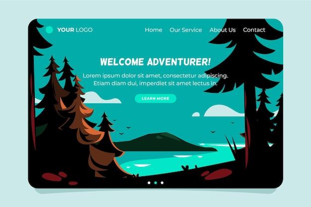 Witamy Poszukiwacza Przygód, Strona Docelowa Turystyki Lokalnej Darmowych Wektorów