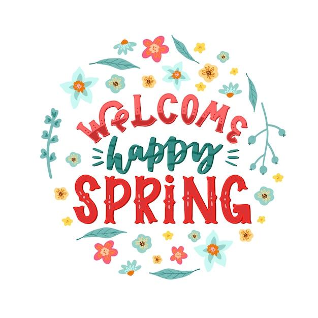 Witamy Szczęśliwy Wiosenny Napis Darmowych Wektorów