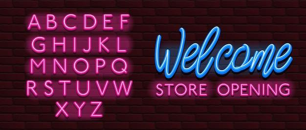 Witamy w alfabecie czcionek neonowych czcionek Premium Wektorów