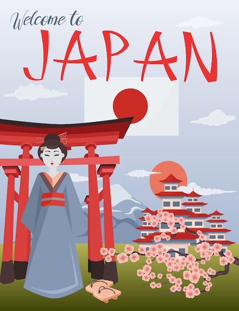 Witamy w japonii ilustracji Premium Wektorów
