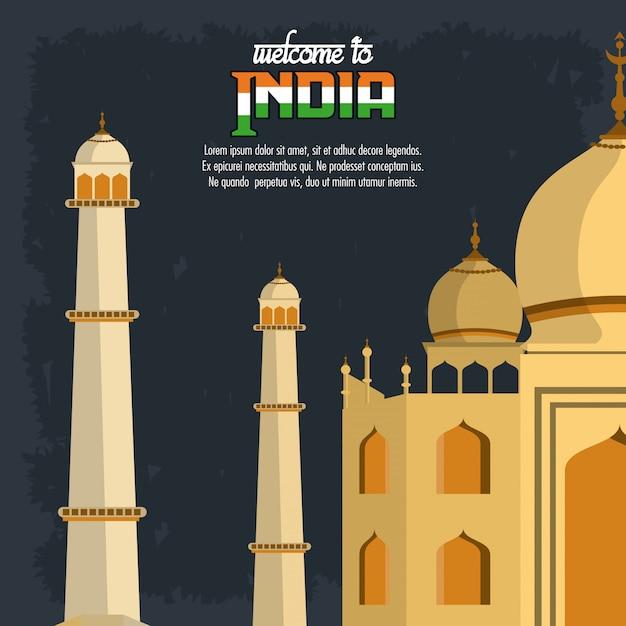 Witamy W Karcie Indii Z Taj Mahal Premium Wektorów