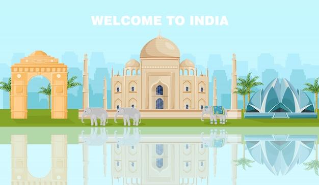 Witamy W Karcie Indii Ze Słynnymi Zabytkami Premium Wektorów