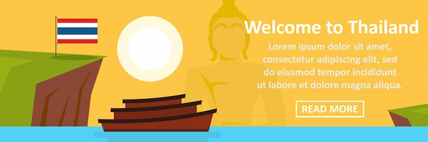 Witamy w koncepcji poziomej banner tajlandii Premium Wektorów