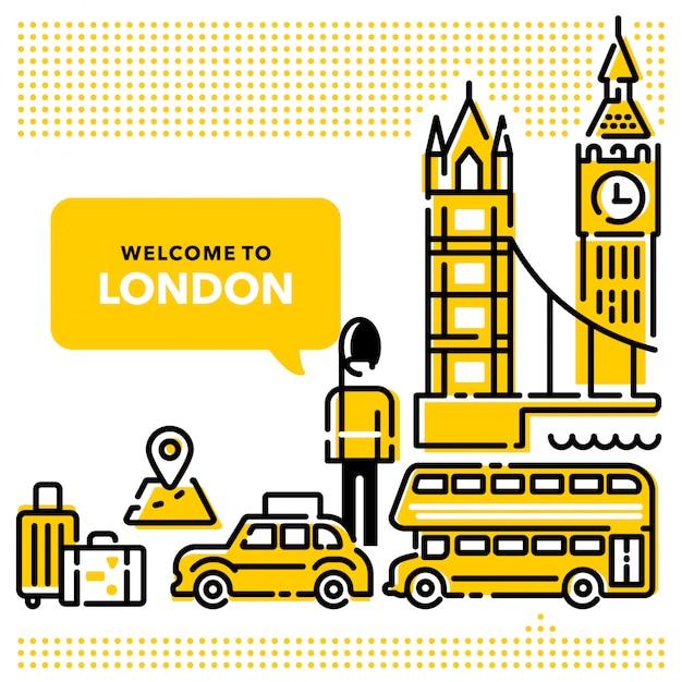 Witamy w london modern line designs Premium Wektorów