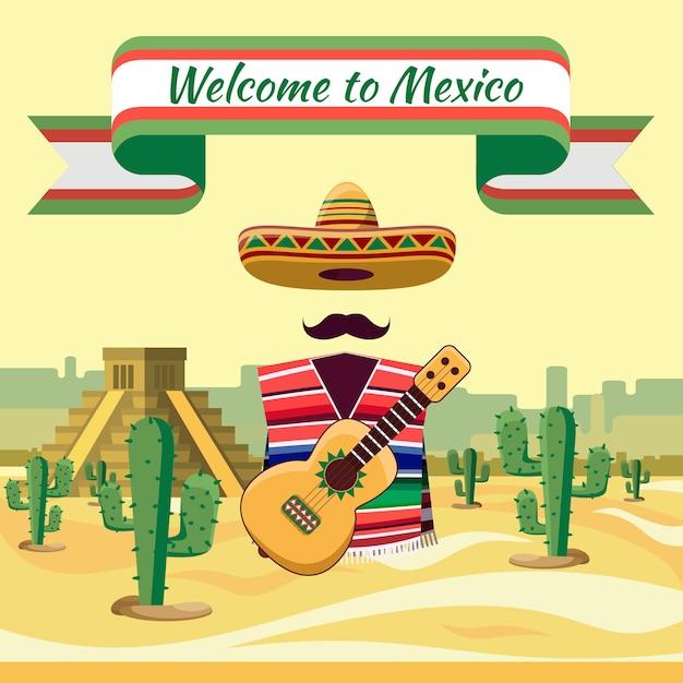 Witamy W Meksyku, Tradycyjne Meksykańskie Elementy Na Tle Kaktusów I Piasku Darmowych Wektorów