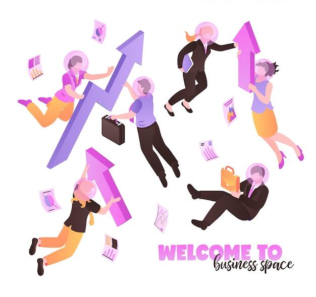 Witamy W Przestrzeni Biznesowej Białej Z Osobami Trzymającymi Teczki I Teczki I Latającymi W Izometrycznym Zerowej Grawitacji Darmowych Wektorów