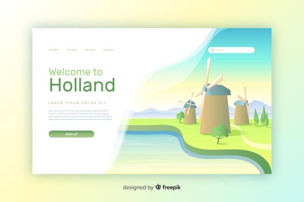 Witamy W Szablonie Strony Docelowej W Holandii Darmowych Wektorów