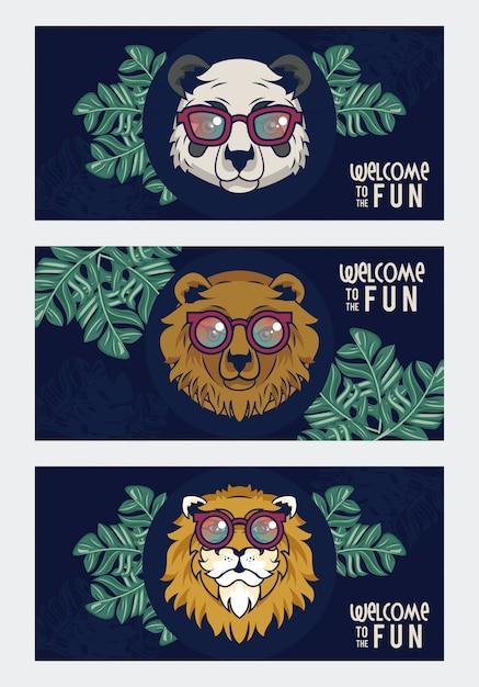 Witamy W Zabawie Ze Zwierzętami W Okularach Premium Wektorów