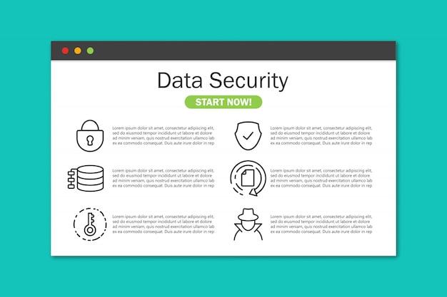 Witryna Bezpieczeństwa Danych W Oknie Przeglądarki W Płaskiej Obudowie Premium Wektorów