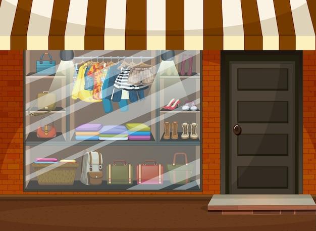 Witryna Sklepu Odzieżowego Z Ubraniami I Dodatkami Premium Wektorów