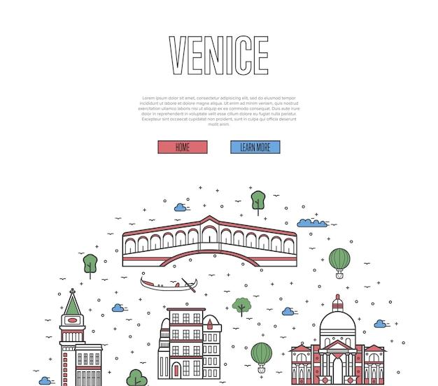 Witryna Turystyczna Wenecji W Stylu Liniowym Premium Wektorów