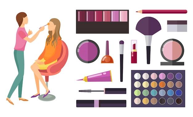 Wizaż i makijaż dokonywanie kosmetyków upiększających Premium Wektorów