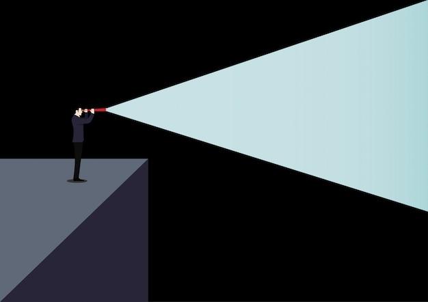 Wizjonerska Koncepcja Przywództwa Ze światłem Teleskopu W Ciemności Premium Wektorów