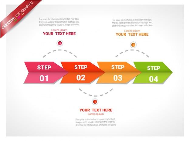 Wizualizacja danych biznesowych. wykres procesu. abstrakcyjne elementy wykresu, wykres z 4 ste Premium Wektorów