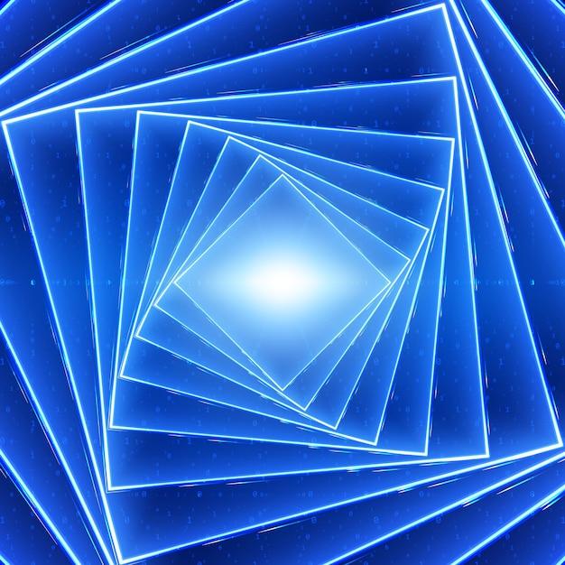 Wizualizacja Przepływu Danych Wektorowych. Kwadratowy Skręcony, świecący Tunel Z Niebieskim, Dużym Przepływem Danych W Postaci Ciągów Binarnych. Cyber świat Kodu. Analiza Kryptograficzna. Transfer Blockchain Bitcoin. Strumień Informacji Darmowych Wektorów