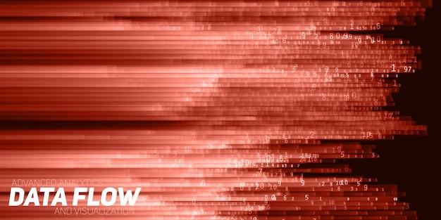 Wizualizacja Wektorów Streszczenie Dużych Danych. Czerwony Przepływ Danych Jako Ciągi Liczbowe. Reprezentacja Kodu Informacyjnego. Analiza Kryptograficzna. Bitcoin, Transfer Blockchain. Strumień Zakodowanych Danych. Darmowych Wektorów