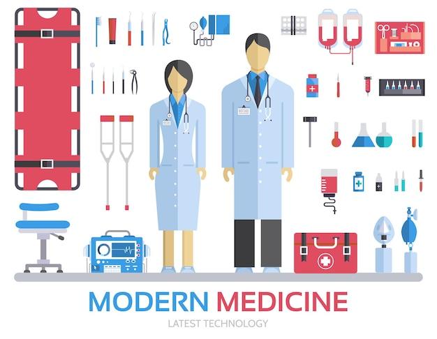 Wizyta U Lekarza. Medycyna Zaopatruje Personel Medyczny I Personel W Sprzęt. Premium Wektorów